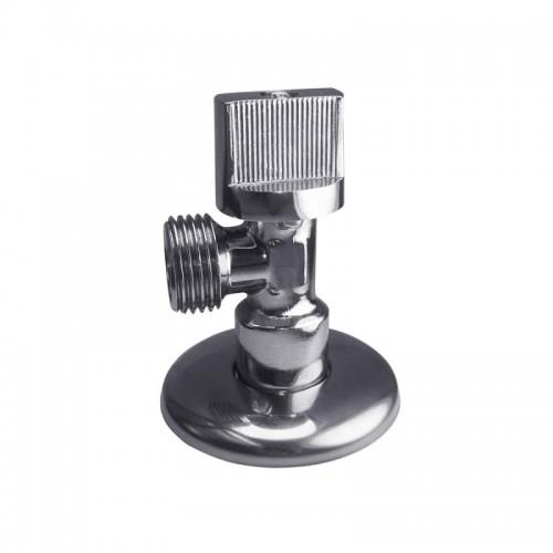 Кран шаровой угловой латунь никель Ду 15 Ру 16 НР флажок mini REMSAN