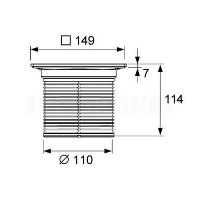 """Решётка декоративная для душевого трапа S """"quadratum"""" 150мм с монтажным элементом TECEdrainpoint"""