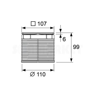 Решётка декоративная для душевого трапа S 100мм в стальной рамке с фиксаторами с монтажным элементом TECEdrainpoint