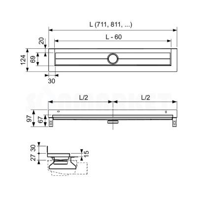Слив для душа для пристенного монтажа прямой с гидроизоляцией Seal System 1000мм TECEdrainline
