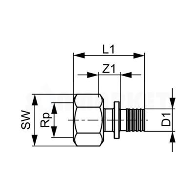 """Муфта для PE-X переходная с внутренней резьбой бронза Дн 32 х Rp 1"""" TECEflex"""