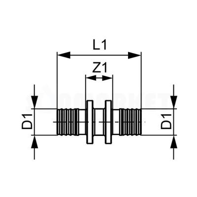 Муфта для PE-X проходная бронза Дн 50 х 50 TECEflex