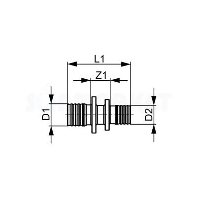 Муфта для PE-X редукционная бронза Дн 32 х 25 TECEflex