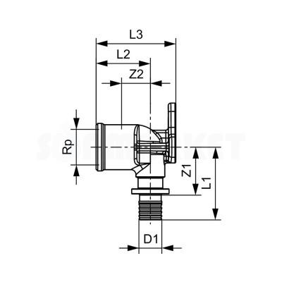 "Водорозетка для PE-X одиночная с внутренней резьбой бронза Дн 25 х Rp 3/4"" TECEflex"