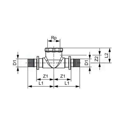 """Тройник 90° для PE-X переходной с внутренней резьбой бронза Дн 25 х Rp 1/2"""" х 25 TECEflex"""