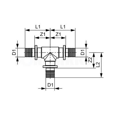 Тройник 90° для PE-X равнопроходной бронза Дн 63 х 63 х 63 TECEflex