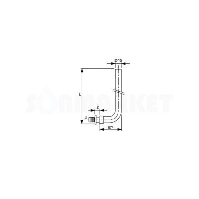 Отвод для PE-X с никелированной трубкой для подключения радиатора Дн 14 х 15мм L 300мм TECEflex