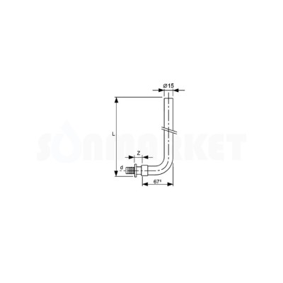 Отвод для PE-X с никелированной трубкой для подключения радиатора Дн 16 х 15мм L 300мм TECEflex