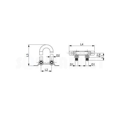 Отвод сдвоенный для PE-X с никелированной трубкой для подключения радиатора напольный Дн 16 х 15мм L 300мм TECEflex