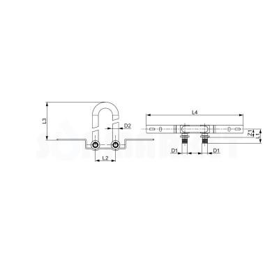 Отвод сдвоенный для PE-X с никелированной трубкой для подключения радиатора настенный с запорными вентилями Дн 14 х 15мм L 300мм TECEflex