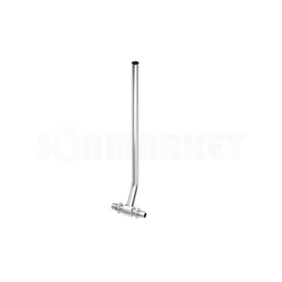 Тройник для PE-X с никелированной трубкой для подключения радиатора Дн 25 х 15мм х Дн 25 L 770мм TECEflex