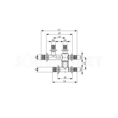 Тройник для PE-X редукционный двойной с обводом латунь никелированный Дн 20 х 16 х 16 TECEflex