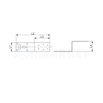 Монтажная пластина для водорозетки оцинкованная сталь 75мм TECE