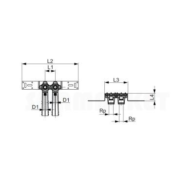 """Водорозетка для PE-X в комплекте латунь межцентровое расстояние 50мм Дн 16 х Rp 1/2"""" TECEflex"""