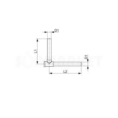 Отвод медный никелированный с запорными вентилями для плинтусного подключения радиаторов Дн 15мм TECEflex