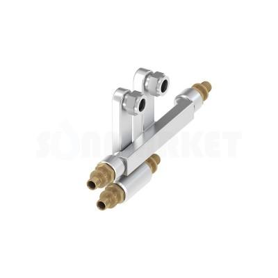 Узел присоединительный двойной редукционный PE-X для плинтусной разводки Дн 20 х 15мм х 16 TECEflex