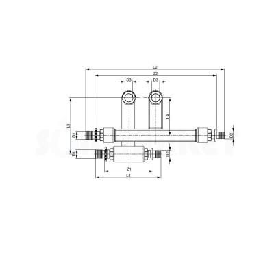 Узел присоединительный двойной конечный PE-X для плинтусной разводки Дн 16 х 15мм х Заглушка TECEflex