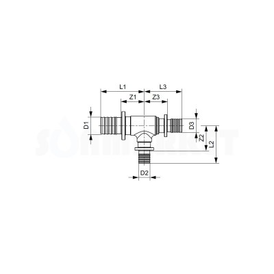 Тройник 90° для PE-X редукционный PPSU Дн 20 х 16 х 16 TECEflex