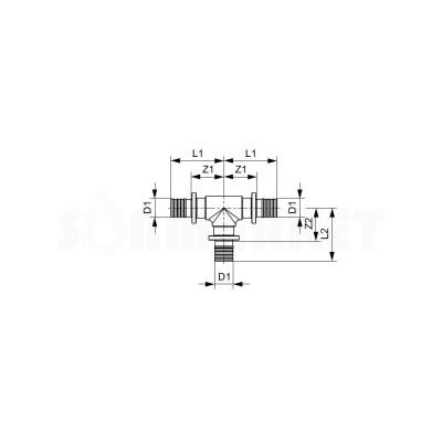 Тройник 90° для PE-X равнопроходной латунь Дн 25 х 25 х 25 TECEflex