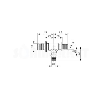 Тройник 90° для PE-X редукционный латунь Дн 40 х 32 х 40 TECEflex