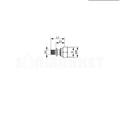 """Муфта для PE-X переходная с накидной гайкой (евроконус) латунь Дн 16 х 3/4"""" TECEflex"""