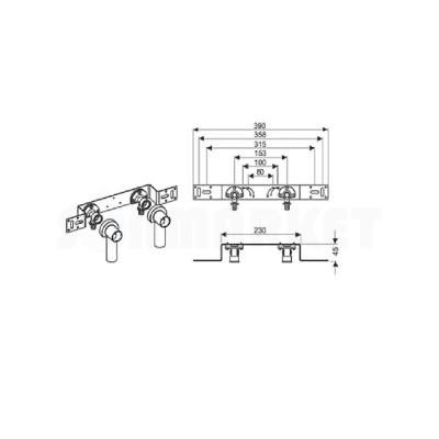 """Водорозетка для PE-X в комплекте латунь межцентровое расстояние 150мм Дн 16 х Rp 1/2"""" TECEflex"""