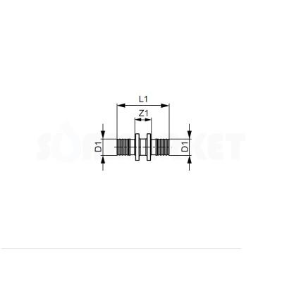 Муфта для PE-X проходная латунь Дн 50 х 50 TECEflex