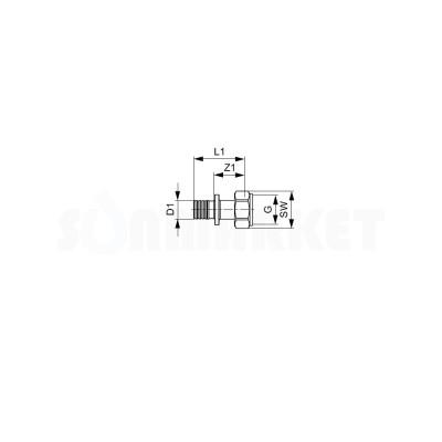 """Муфта для PE-X переходная с накидной гайкой (американка) латунь Дн 16 х 3/4"""" TECEflex"""