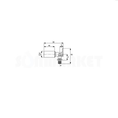 """Водорозетка для PE-X одиночная с внутренней резьбой удлинённая латунь Дн 16 х Rp 1/2"""" TECEflex"""