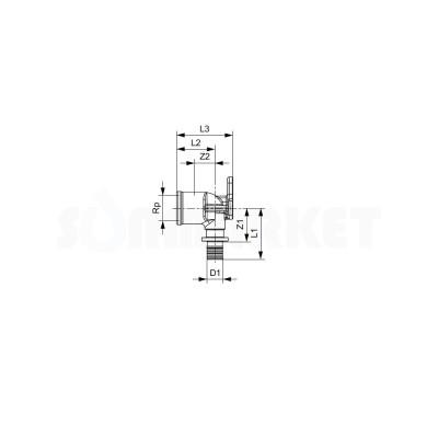 "Водорозетка для PE-X одиночная с внутренней резьбой латунь Дн 16 х Rp 1/2"" TECEflex"