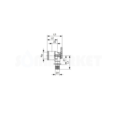 "Водорозетка для PE-X одиночная с внутренней резьбой латунь Дн 25 х Rp 3/4"" TECEflex"