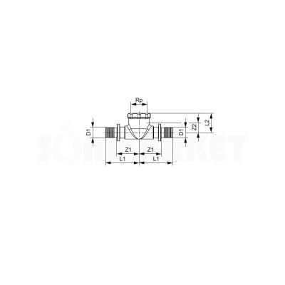 """Тройник 90° для PE-X переходной с внутренней резьбой латунь Дн 40 х Rp 1"""" х 40 TECEflex"""