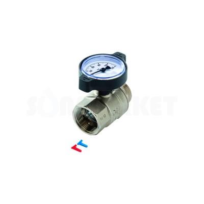Кран шаровой с термометром латунь Ду 25 Ру 16 ВР/НР TECEfloor