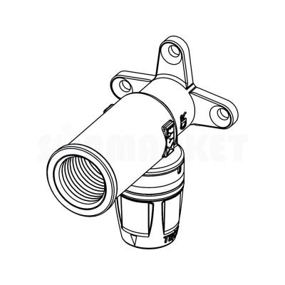 """Водорозетка для Push-fit одиночная с внутренней резьбой удлинённая латунь Дн 16 х Rp 1/2"""" TECElogo"""