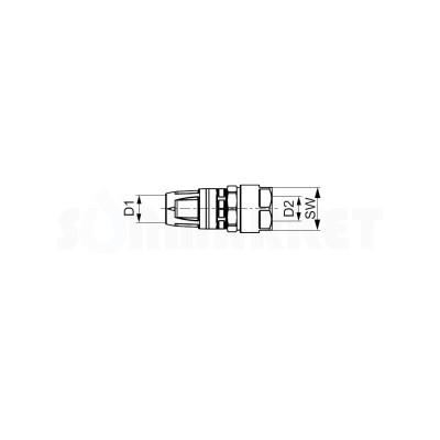 Муфта для Push-fit переходная на медную/стальную трубу латунь Дн 16 х 15 TECEflex