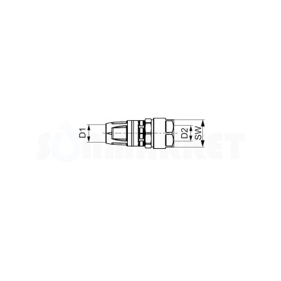Муфта для Push-fit переходная на медную/стальную трубу латунь Дн 20 х 18 TECEflex