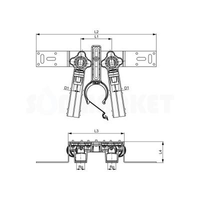 """Водорозетка для Push-fit в комплекте с держателем для фанового отвода бронза межцентровое расстояние 80мм Дн 16 х Rp 1/2"""" TECElogo"""