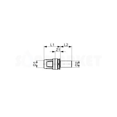 Переходник с Push-fit на медные/стальные трубы бронза Дн 16 х 15мм TECElogo