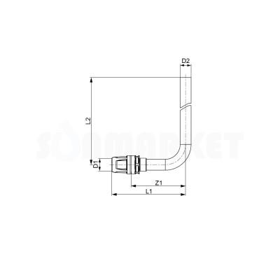 Отвод для Push-fit с никелированной трубкой для подключения радиатора Дн 16 х 15мм L 300мм TECElogo