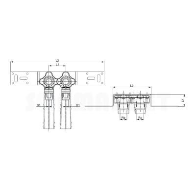 """Водорозетка для Push-fit в комплекте латунь межцентровое расстояние 50мм Дн 16 х Rp 1/2"""" TECElogo"""