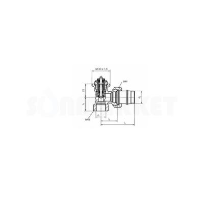 """Термостатический клапан радиаторный угловой с предварительной настройкой Дн R 1/2"""" х Rp 1/2"""" TECE"""