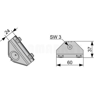 Соединение угловое для каркасной системы TECEprofil