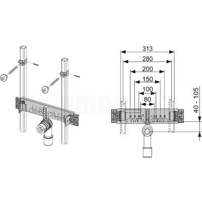 Комплект для установки раковины в систему TECEprofil