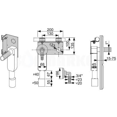 Сифон для стиральной машины встраиваемый в комплекте с креплением для каркасной системы TECEprofil