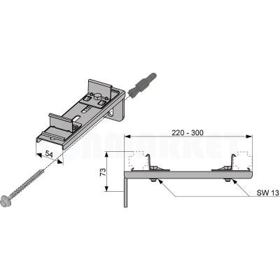 Крепление двойное для каркасной системы удлиненное TECEprofil