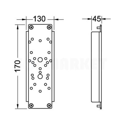 Пластина для установки поддерживающих поручней с застенным модулем арт. 9300009 Тип 1 TECEprofil