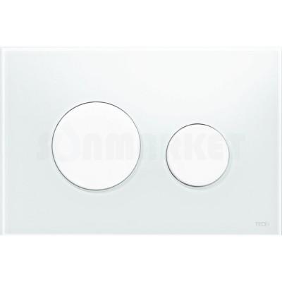 Кнопка смыва для инсталляции с двумя клавишами TECEloop, стеклянная, стекло белое, клавиши белые