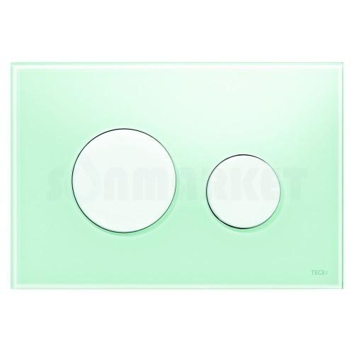 Кнопка смыва для инсталляции с двумя клавишами TECEloop, стеклянная, стекло зелёное, клавиши белые