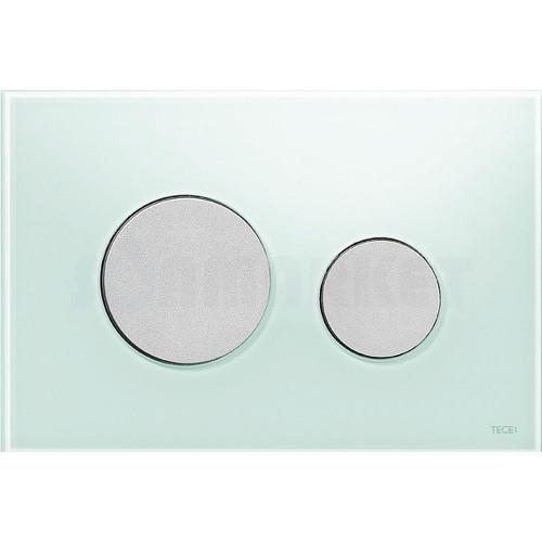 Кнопка смыва для инсталляции с двумя клавишами TECEloop, стеклянная, стекло зелёное, клавиши хром матовый