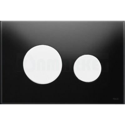 Кнопка смыва для инсталляции с двумя клавишами TECEloop, стеклянная, стекло чёрное, клавиши белые